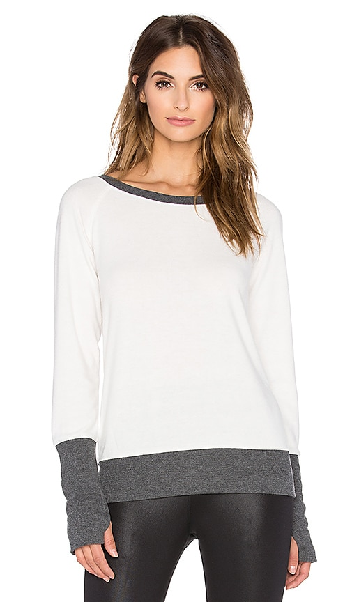 alo Slouchy Long Sleeve Top in Natural & Charcoal Heather