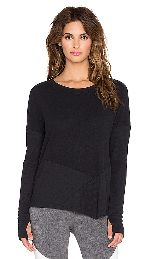 alo Lean Long Sleeve Top in Black