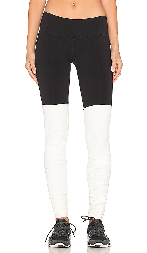 alo Goddess Ribbed Legging in Black & Natural