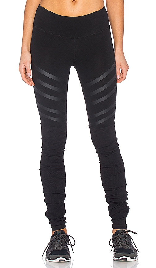 36eb535bb1 alo Goddess Ribbed Legging in Black & Black Lineal | REVOLVE