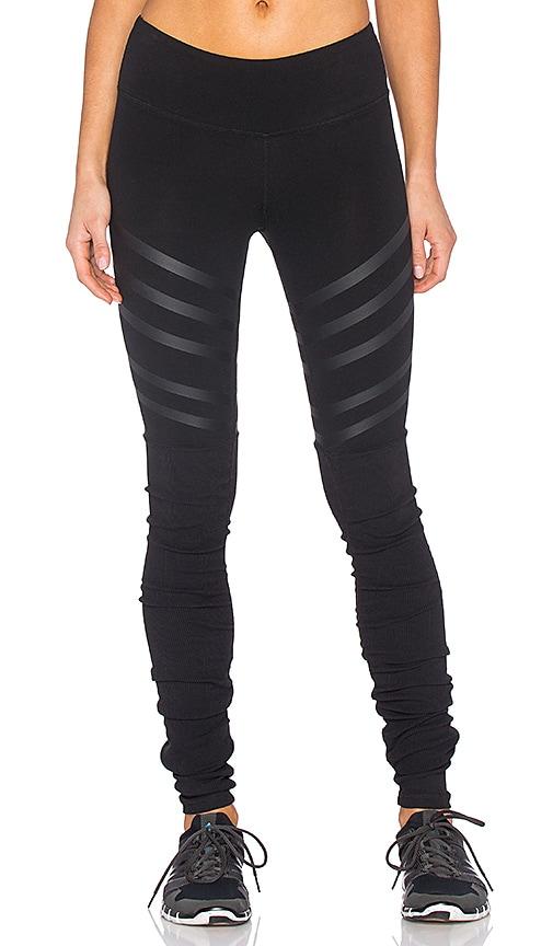 alo Goddess Ribbed Legging in Black & Black Lineal