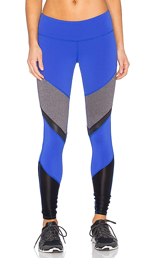alo Sheila Legging in Deep Electric Blue & Stormy Heather & Black Glossy