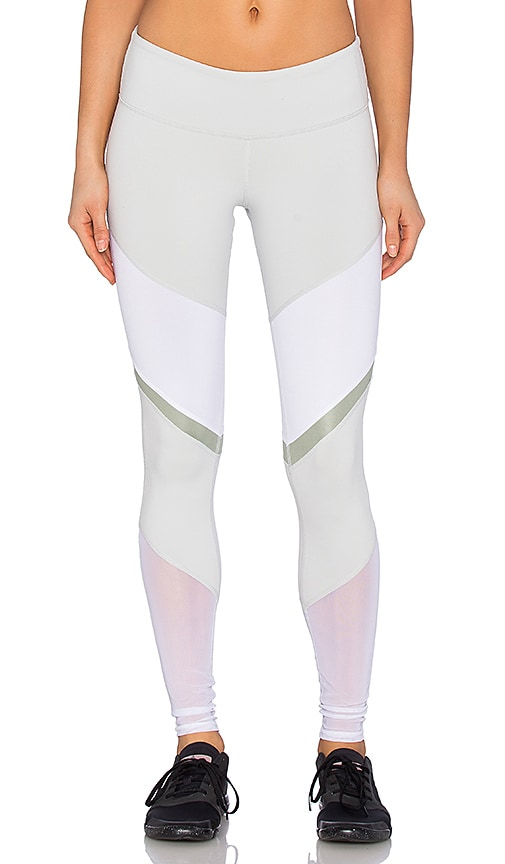 alo Sheila Legging in Vapor Grey & White Glossy & Sea Mist Glossy & White