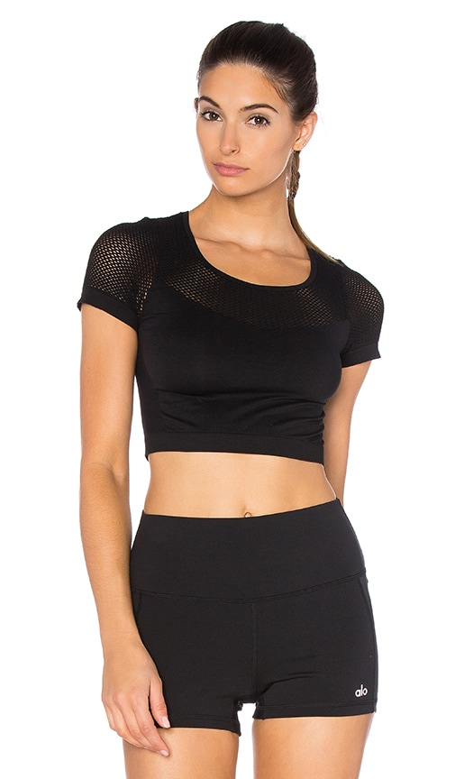 alo Scub Mesh Crop Tee in Black