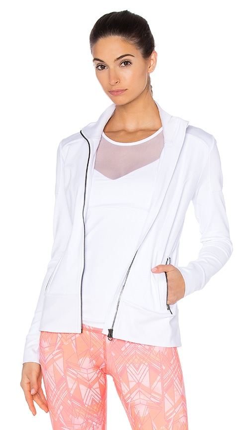 alo Moto Jacket in White Glossy