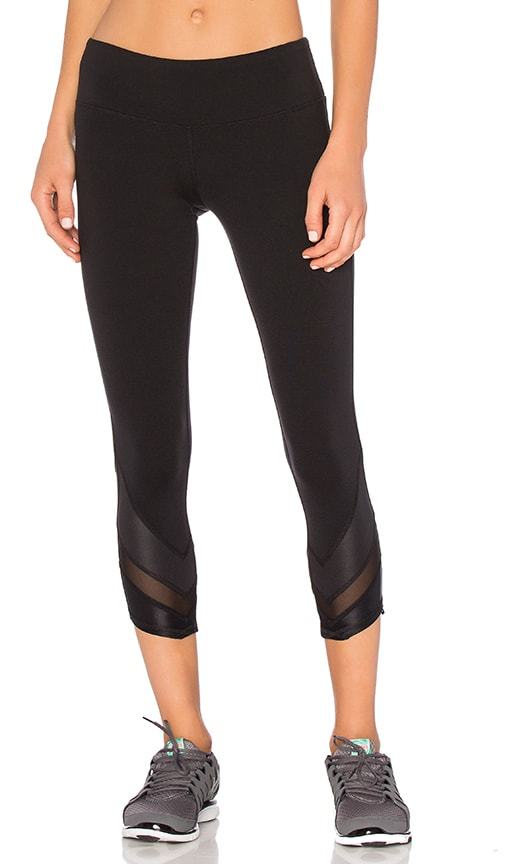 alo Edge Capri in Black & Black Glossy