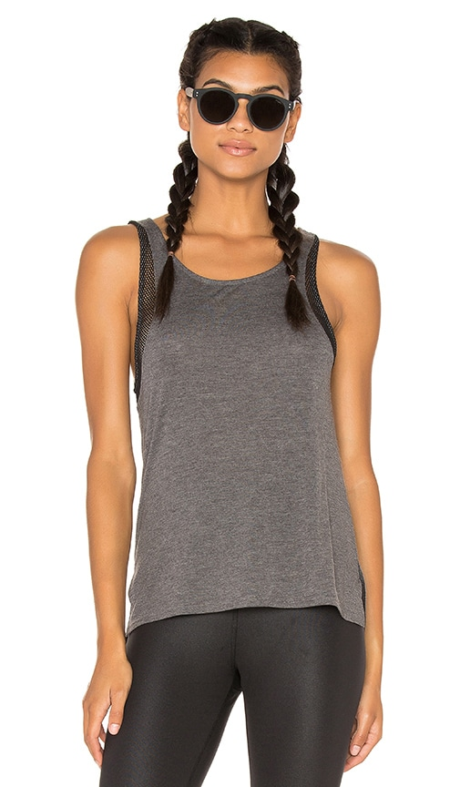alo Sunshade Tank in Dark Grey Heather & Black
