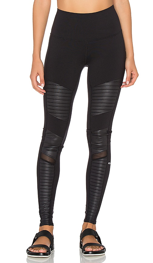 a4a3383c828a5 alo High Waisted Moto Legging in Black & Black Glossy | REVOLVE