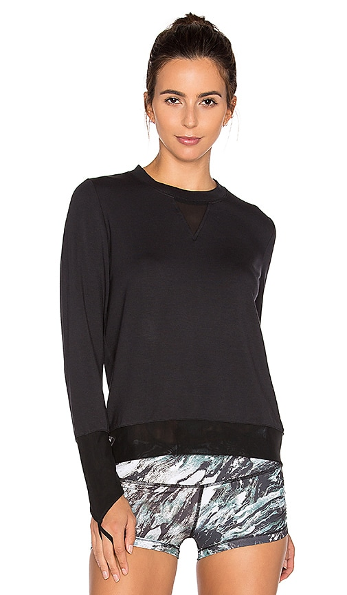 alo Serene Long Sleeve Top in Black