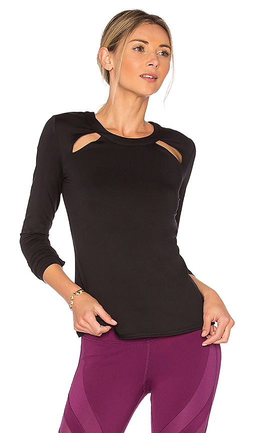 alo Mantra Long Sleeve Top in Black