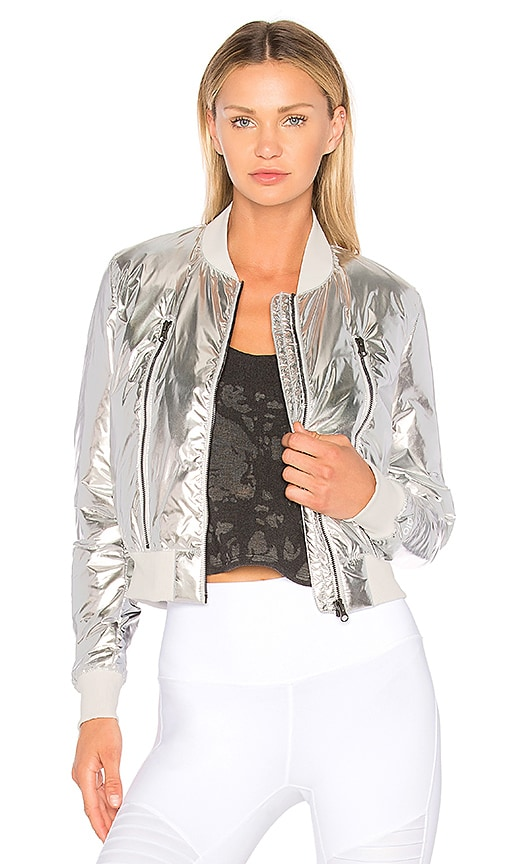 alo Off Duty Bomber Jacket in Metallic Silver