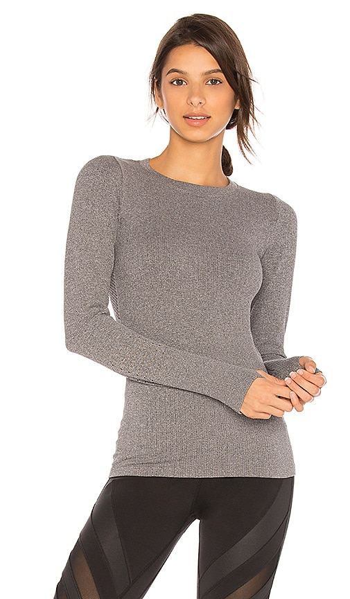 alo Exhale Long Sleeve Top in Gray