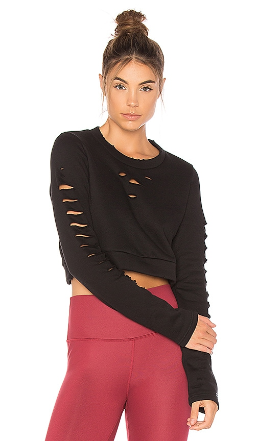 alo Ripped Warrior Long Sleeve Top in Black