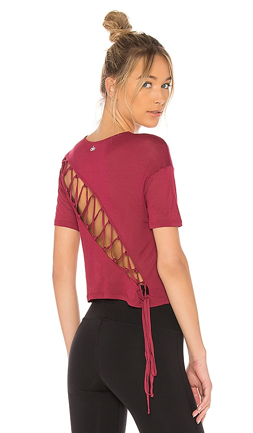 alo Entwine Short Sleeve Tee in Red