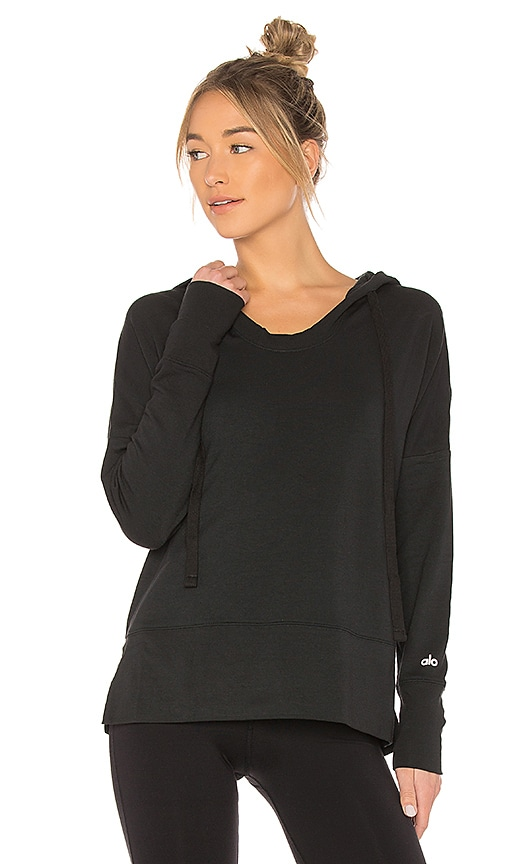 alo Fluid Tunic Long Sleeve Top in Black
