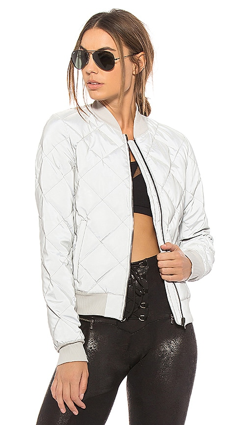 alo Reflective Idol Bomber Jacket in Metallic Silver