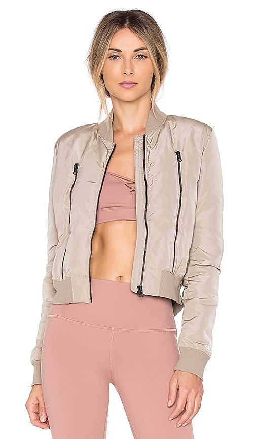 alo Off Duty Bomber Jacket in Taupe