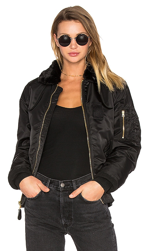 ALPHA INDUSTRIES B-15 Slim Fit Bomber with Faux Fur Collar in Black