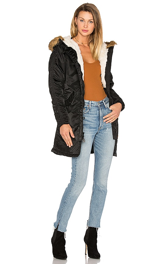 ALPHA INDUSTRIES Elyse Faux Fur Parka in Black