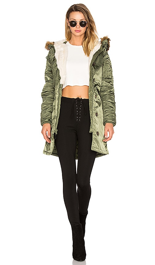 ALPHA INDUSTRIES Elyse Faux Fur Parka in Green