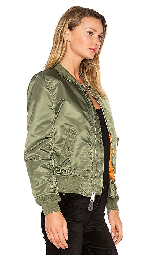 ALPHA INDUSTRIES Ma-1 Vf Reversible Nylon Bomber Jacket, Sage Green