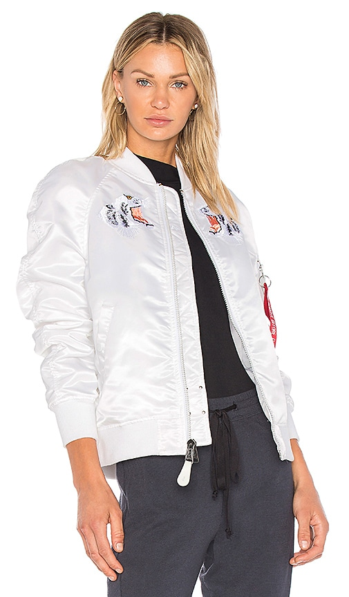 ALPHA INDUSTRIES MA-1 Souvenir Tiger Jacket in White