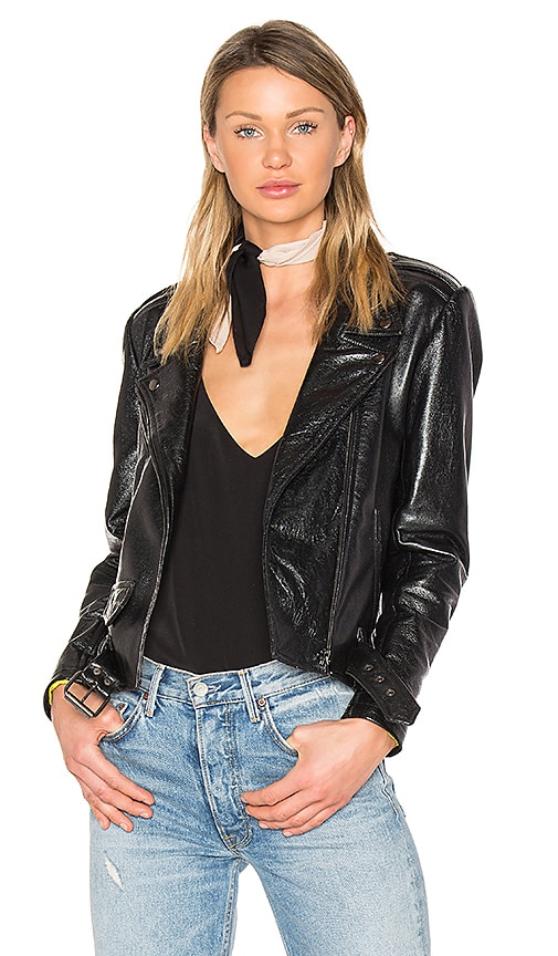 ALYSON EASTMAN Gem Leather Jacket in Black