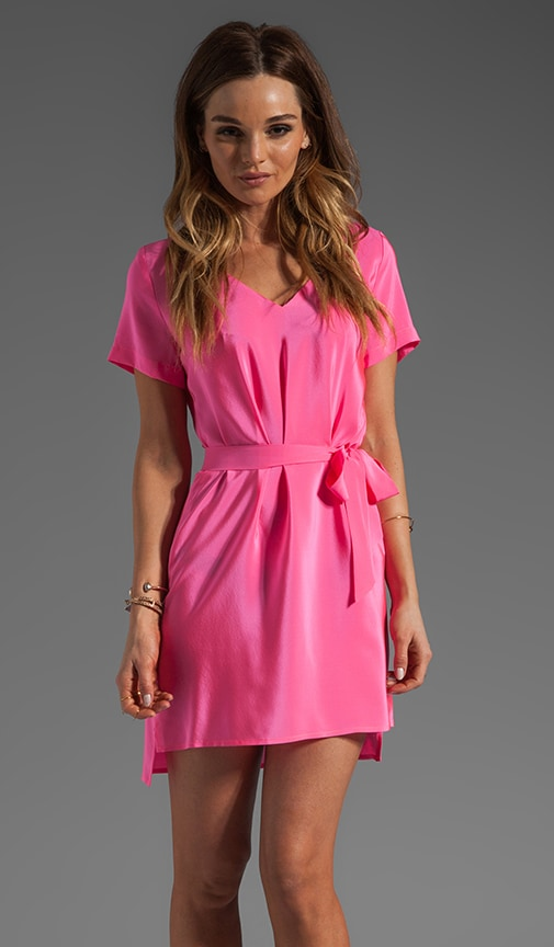 Silk V Neck T Shirt Dress