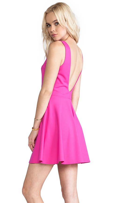 Amanda Uprichard Backless Skater Dress in Hot Pink  5ff8d12e1