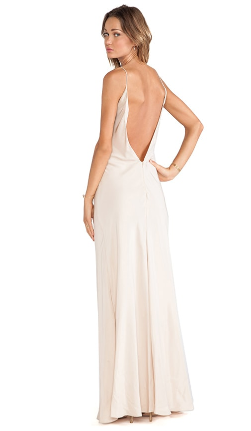Deep V Back Bias Maxi Dress