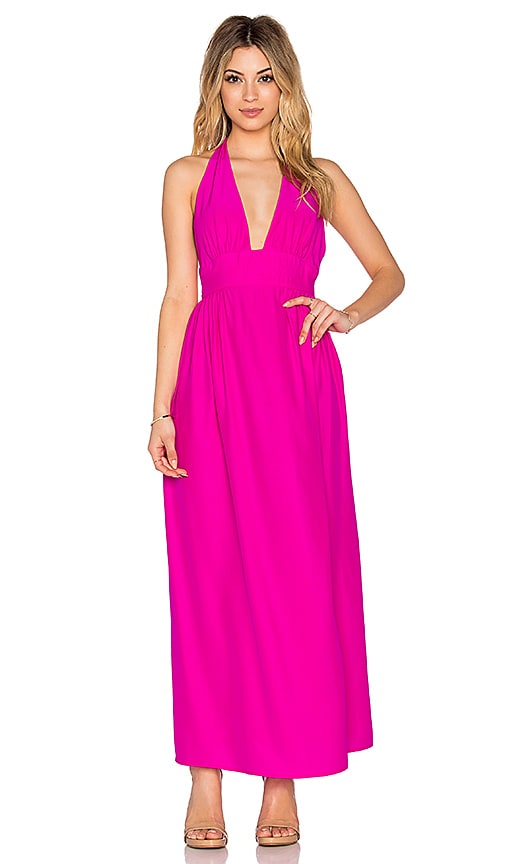 Amanda Uprichard Mercer Halter Maxi Dress in Hot Pink Light