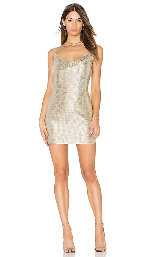 Amanda Uprichard Bowie Dress in Metallic Gold