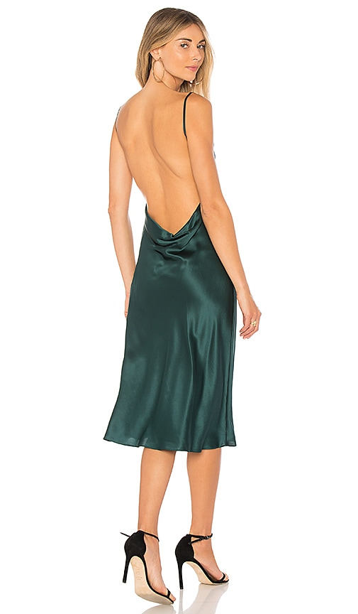 Amanda Uprichard Charmeuse Cowl Midi Slip Dress in Green