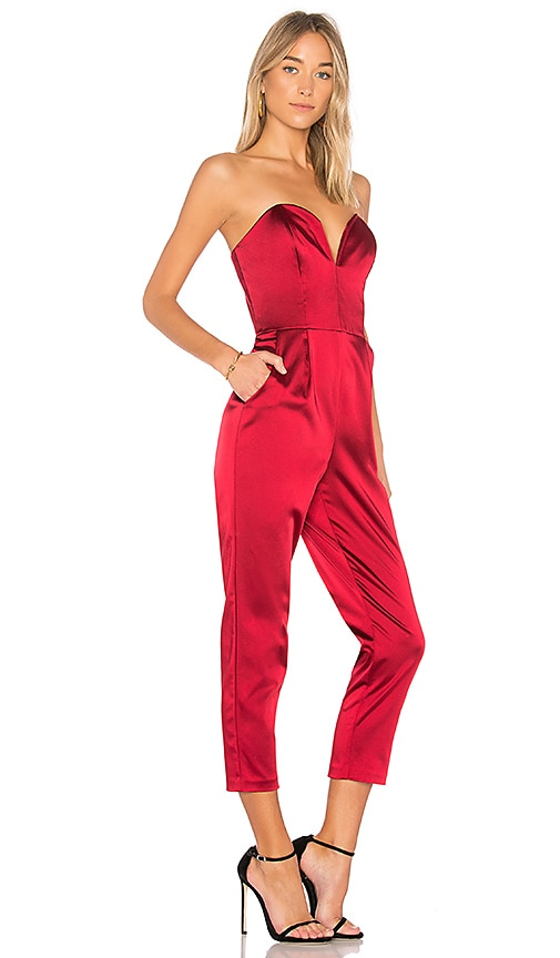 Amanda Uprichard Cherri Jumpsuit In Ruby Modesens