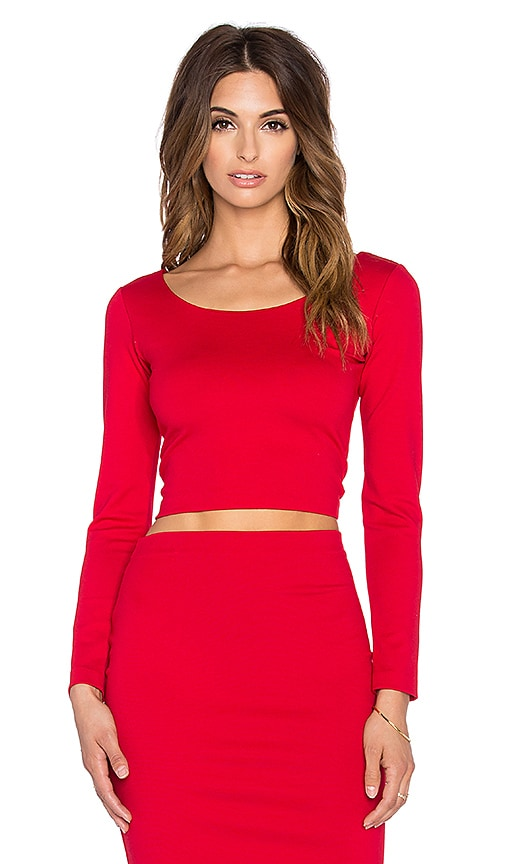Amanda Uprichard Long Sleeve Crop Top in Red
