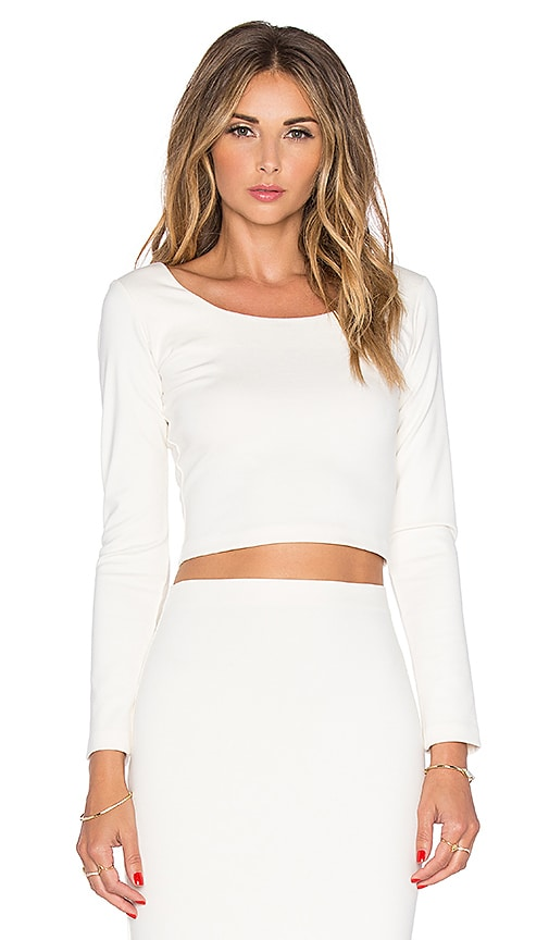 Amanda Uprichard Long Sleeve Crop Top in Ivory