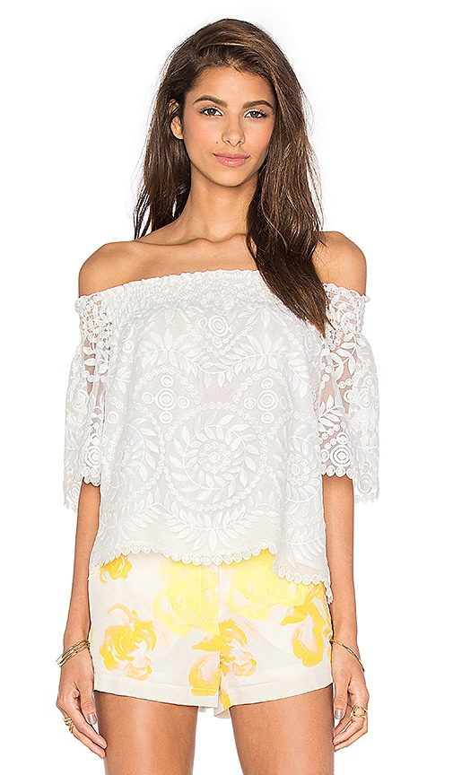 Amanda Uprichard Wesley Off the Shoulder Top in White