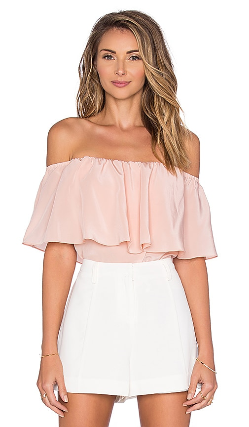 Amanda Uprichard Kiara Off the Shoulder Top in Blush
