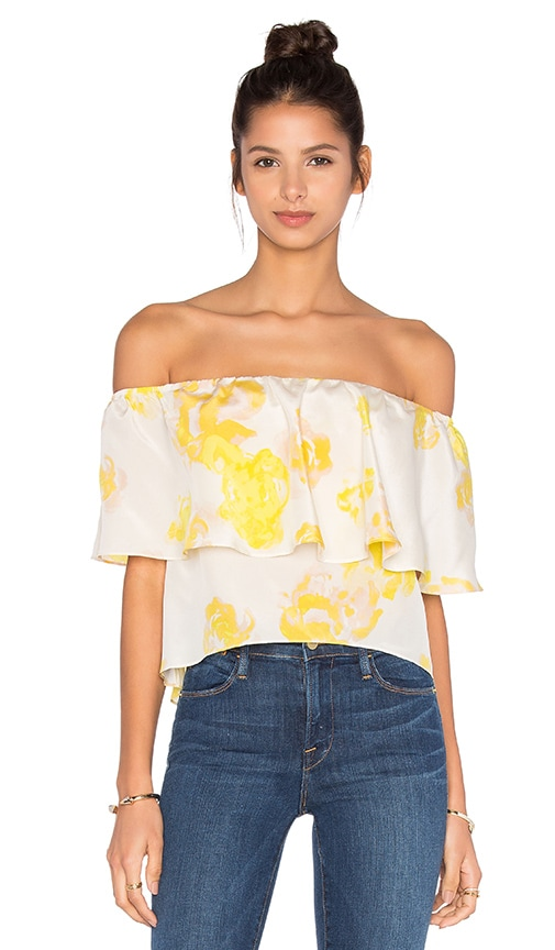 Amanda Uprichard Kiara Off the Shoulder Top in Yellow