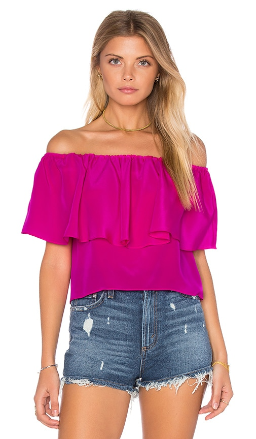 Amanda Uprichard Kiara Top in Fuchsia
