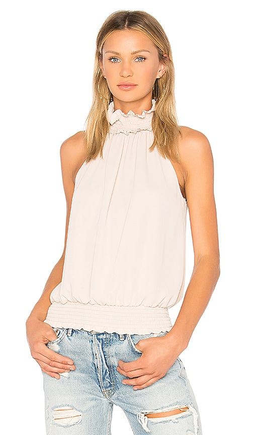 Amanda Uprichard Kimmie Mock Neck Top in Beige