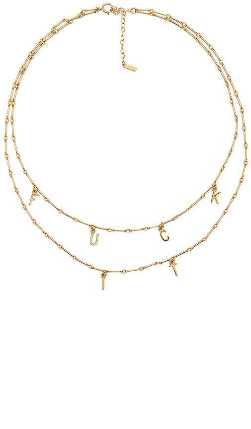 Amarilo Fuck It Necklace Set in Metallic Gold