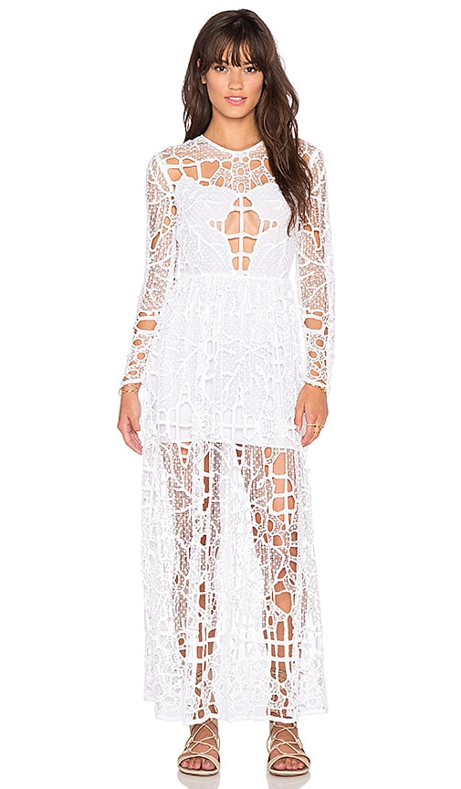 Alice McCall Burning Love Dress in White Leaf