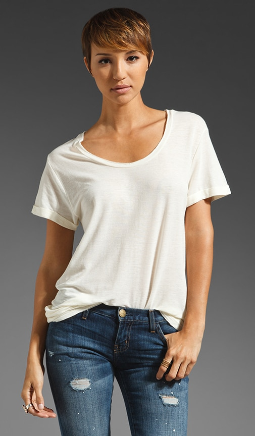 Sky Line Short Sleeve V Neck Tee Shirt