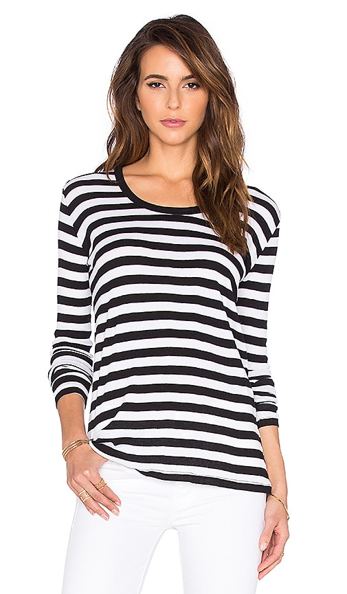 American Vintage Los Angeles Long Sleeve Tee in Black Striped White