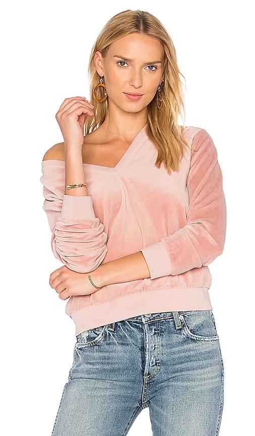 AMO Deep V Velour Sweatshirt in Pink