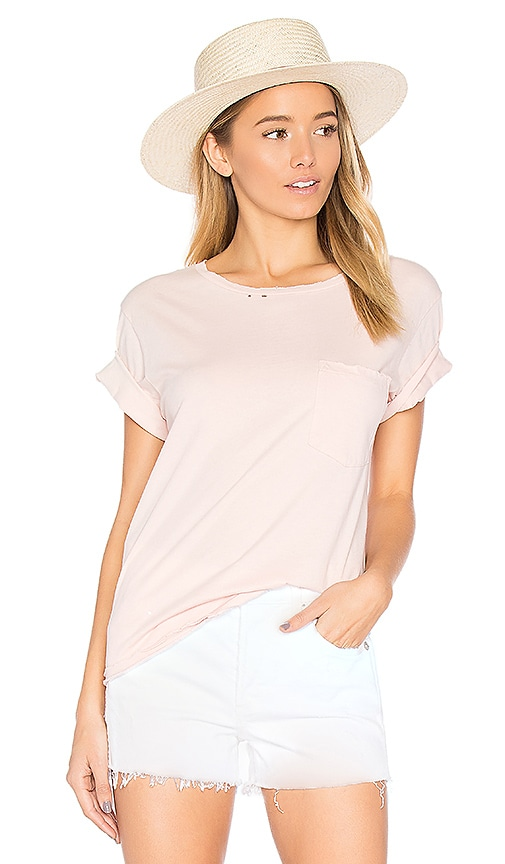 AMO Tomboy Destroyed Pocket Tee in Pink