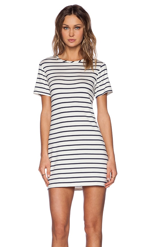 amour vert Brigette Tee Dress in Ivory & Navy Stripe
