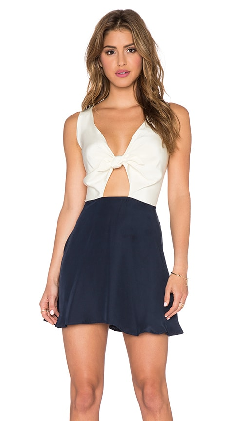 amour vert Champagne Dress in Navy & White