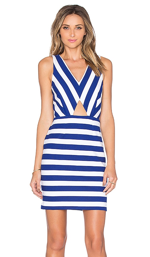 amour vert Amber Cut Out Dress in Blue Stripe